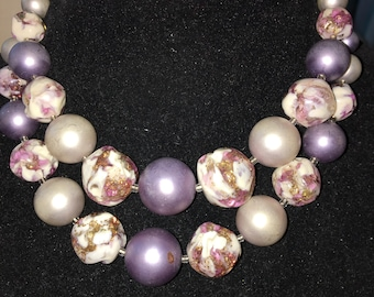 Vintage Shades of Purple White and Gold Multi Strand Necklace, Signed Japan