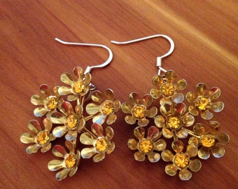 Vintage Tangerine Flower Burst Earings