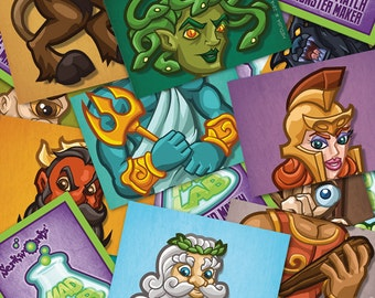 Mix and Match Monster Cards - Greek Gods and Monsters- Greek mythology- matching game- trading cards- Zeus- Hercules- Poseidon- Medusa