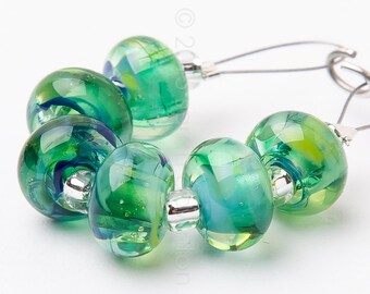 Coastal Spacer Swirl - Handmade Lampwork Glass Beads by Sarah Downton