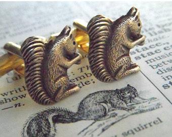 Men's Cufflinks Brass Squirrels Vintage Inspired Style Victorian Accessories & Gifts Cute Popular Tiny Size Woodland Animal Squirrel