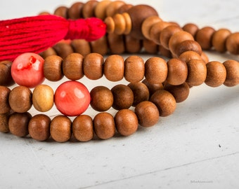 Japa Mala Sandalwood, Yoga Mala Necklace, Tibetan Mala, Meditation Beads, Sandalwood 108 Mala Necklace Tassel