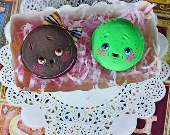 SALE!! - Set of 2 funny macarons - art dolls, cookies, macaron , art toy, tea party, fantasy pets