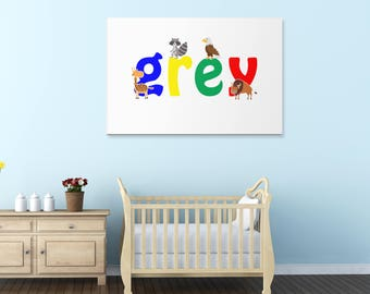 Grey wall canvas, Grey wall art, Grey animal art print, Nursery canvas, Kids bedroom canvas, UK,USA.