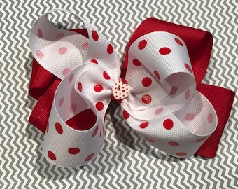 Valentine's Day Polka Dot Boutique Bow
