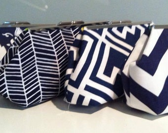 Navy and White Bridesmaid Clutches