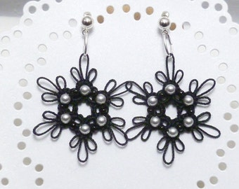 Tatted black lace earrings tatted jewelry -Dainty with silver Swarovski crystal pearls