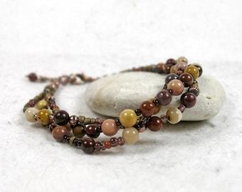 Mookaite Multi Strand Bracelet, Gipsy Bracelet, Gemstone Bracelet, Bohemian Copper Bracelet, Rustic Jewellery, Multi Stone Bracelet, Gift
