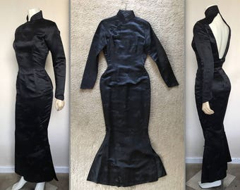 Vintage 1950s 50s Extreme Hourglass Mermaid Fishtail Black Satin Burlesque Dress Tight Fit Gothic Morticia Wasp Waist Vampira Victorian