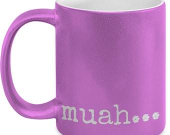 Muah...coffee mug pink 11oz