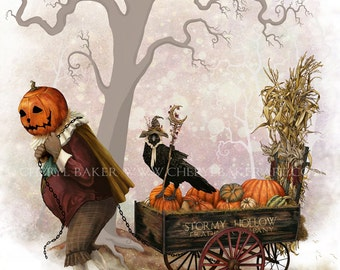 Whimsical Art - The Pumpkin King - Halloween Decor - Halloween Decoration - Pumpkin Art Print - Autumn Decor - Autumn Decorations - Crow Art