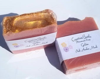 Golden soap, pink Amber musk , gold soap, homemade soap, cold process soap, handmade soap