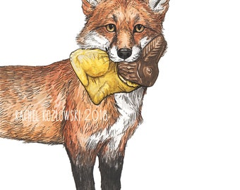 Red Fox + Chocolate Bunny - Snack Attack - Archival Print