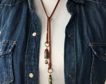 Leather Lariat Necklace | aventurine | bell | freshwater pearl | Czech glass | Chrysoprase | spinel