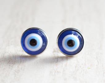 Evil Eye -  Blue White Glass Stud Earrings