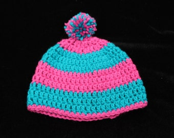 Hot Pink and Turquoise Crochet Hat, Crochet Kids Hat, Crochet Kids Photo Prop,Hat for Kids, PomPom Hat, Cute Hat, Striped Hat, Gift