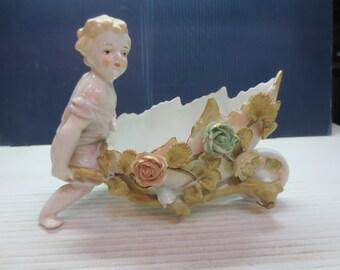 Rare Voigt Bothers of Sitzendorf Figurine With Wheelbarrow