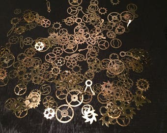 100PC Steampunk Nail Art Brass Cogs And Gears