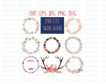 PRETTY WREATHS and ANTLERS, Digital Floral Wreaths, Wedding Gift, Wedding Wreaths, Gifts for her, Instant Download, dxf eps jpg png svg