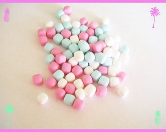 75 miniature Marshmallow Fimo polymer clay for jar - pastel