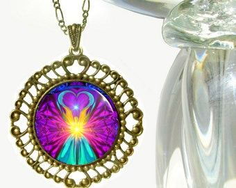 "Rainbow Necklace, Angel Pendant, Chakra Jewelry ""Beacon"""