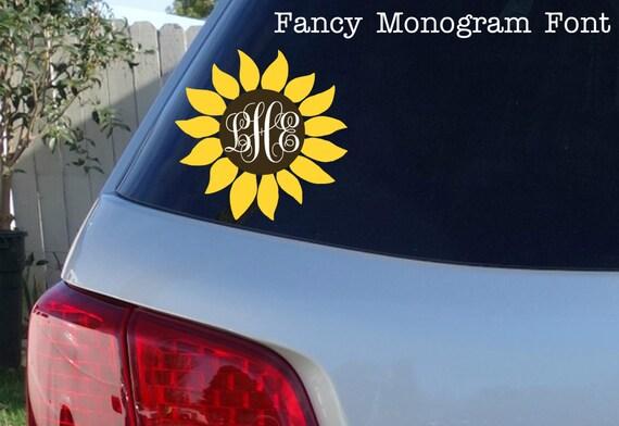 Sunflower monogram car window decal initials car window