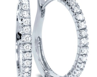 Diamond .50CT Hoops 14K White Gold