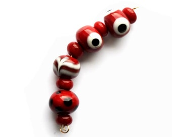Set of red lampwork viking beads 2