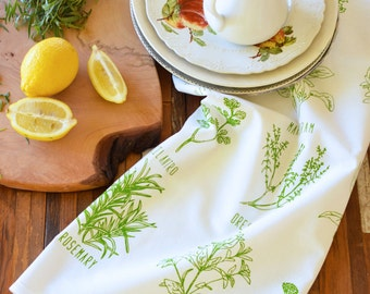 Tea Towel - Flour Sack Towels - Organic Cotton - Screen Print - Mothers Day Gift - Herbs Tea Towel - Botanical Print