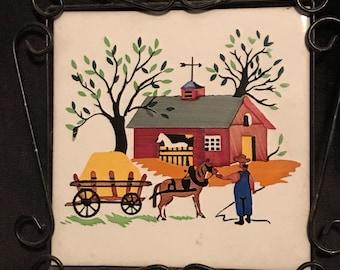 Vintage Trivet Tile Folk Amish Picture with Black Metal Frame