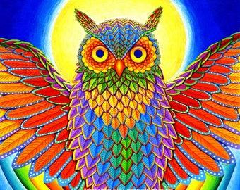 Colorful Rainbow Owl Giclée Fine Art Print
