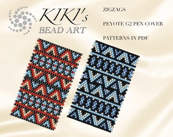 Pattern, peyote pen cover Zigzags peyote pattern for pen wrap set of 2- peyote pattern for G2 pen by Pilot- in PDF instant download