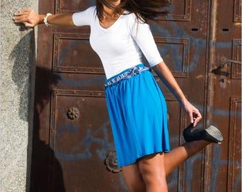 Blue short skirt Jersey SK littlefactory embroidery