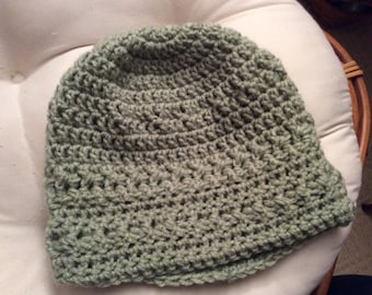 Hand crocheted textured beanie