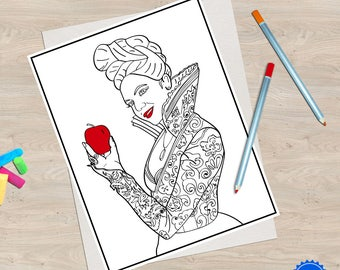 2 Once Upon A Time Coloring Book Pages Regina Evil Queen And Rumplestiltskin