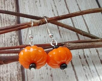 Small Pumpkin Earrings, Fall Earrings, Autumn Earrings, Gift For Her, Thanksgiving Gift, Jack O Lantern,Orange Pumpkins,Orange Bead Earrings