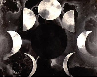 Phases of the Moon Acrylic Painting on Stretched Canvas
