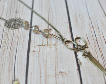 Scissor Necklace - Scissors Necklace - Antique Bronze Scissors Necklace - Hairdressor Jewelry