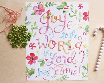 Joy to the World - Christmas Art Print - Holiday Hand Lettered