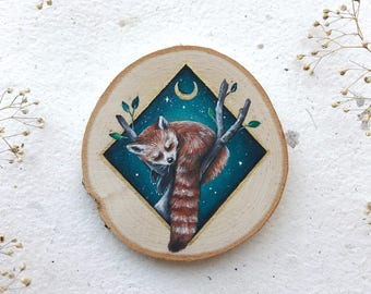 Endangered Animals Series | Sleeping Red Panda | Original Painting on wood