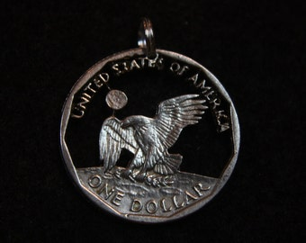 Coin Cut - Susan B Anthony Dollar - Sterling Silver Pendant