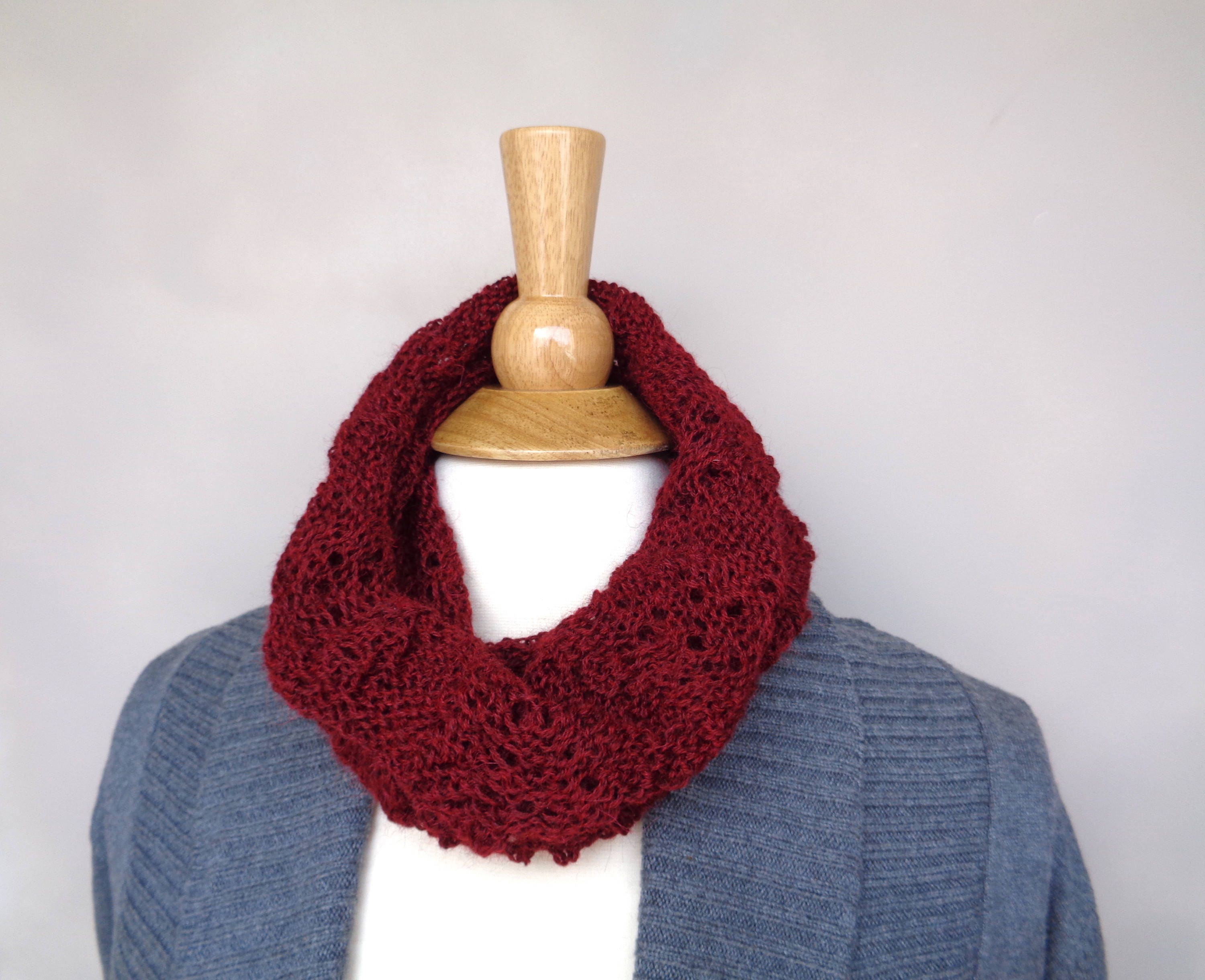 Lace Scallop Cowl Scarf Knitting Pattern, Easy Lace Pattern, Tube ...