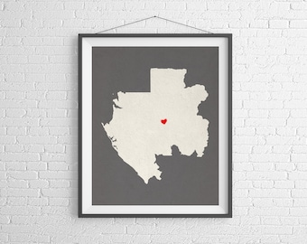 Custom Gabon Silhouette Print, Customized Country Map Art, Personalized Gift, Gabon Art, Heart Map, Gabon Map, Love Map, Home Country