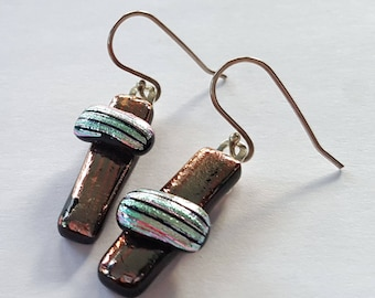 Dichroic Glass Earrings, Asymmetrical Earrings, Silver Earrings, Fused Glass Jewelry, Contemporary, Sterling Leverback Option, Made in USA