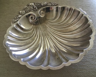Silver plate shell dish with matching lid