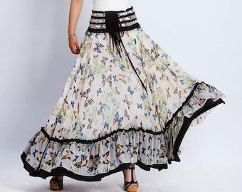 Maxi ruffle skirt, summer skirt or strapless dress, long full butterfly print with elastic waist, boho skirt, womens skirts  (137)