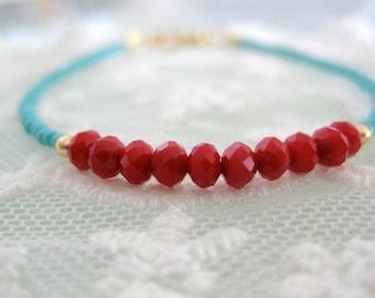 Red czech beads and turquoise seed beads beacelet. Friendship bracelet. Layering bracelet. Unique dainty bracelet.