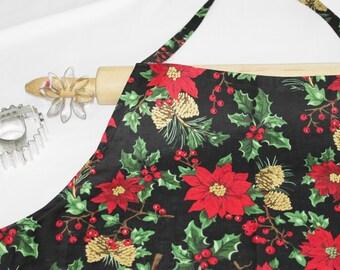 Plus Size Christmas Poinsettia and Pinecones Apron