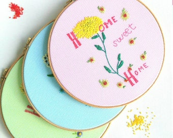 Embroidery Hoop, Hand Embroidery, Embroidered Text, Home Sweet Home, Floral Hoops, Fibre Art, Hanging Embroidery, Hoop Art