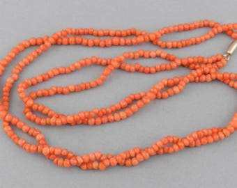 ANTIQUE Victorian Genuine CORAL Double Strand 3.5mm Bead Necklace  ~  19'L